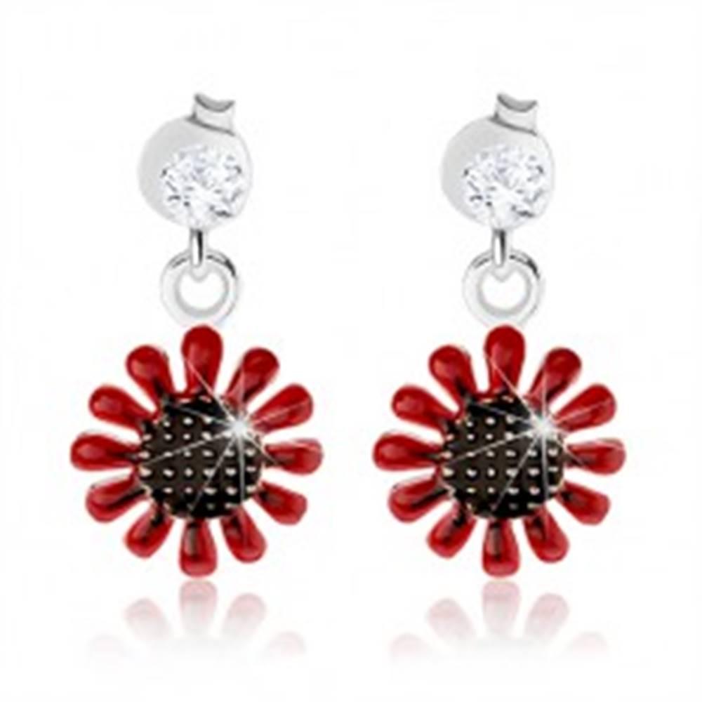 Šperky eshop Puzetové náušnice, striebro 925, visiaci červeno-čierny kvet, číry zirkón