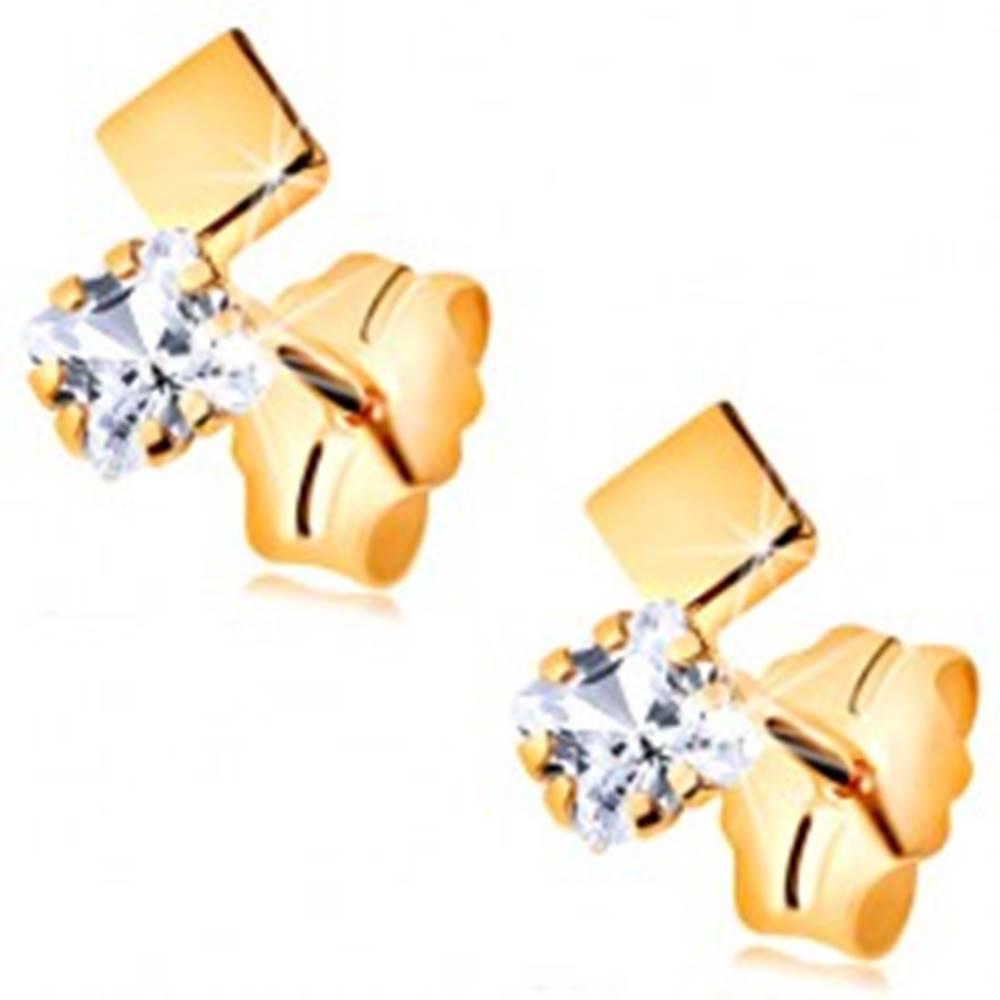 Šperky eshop Puzetové náušnice v žltom 14K zlate - zirkónový a hladký štvorček