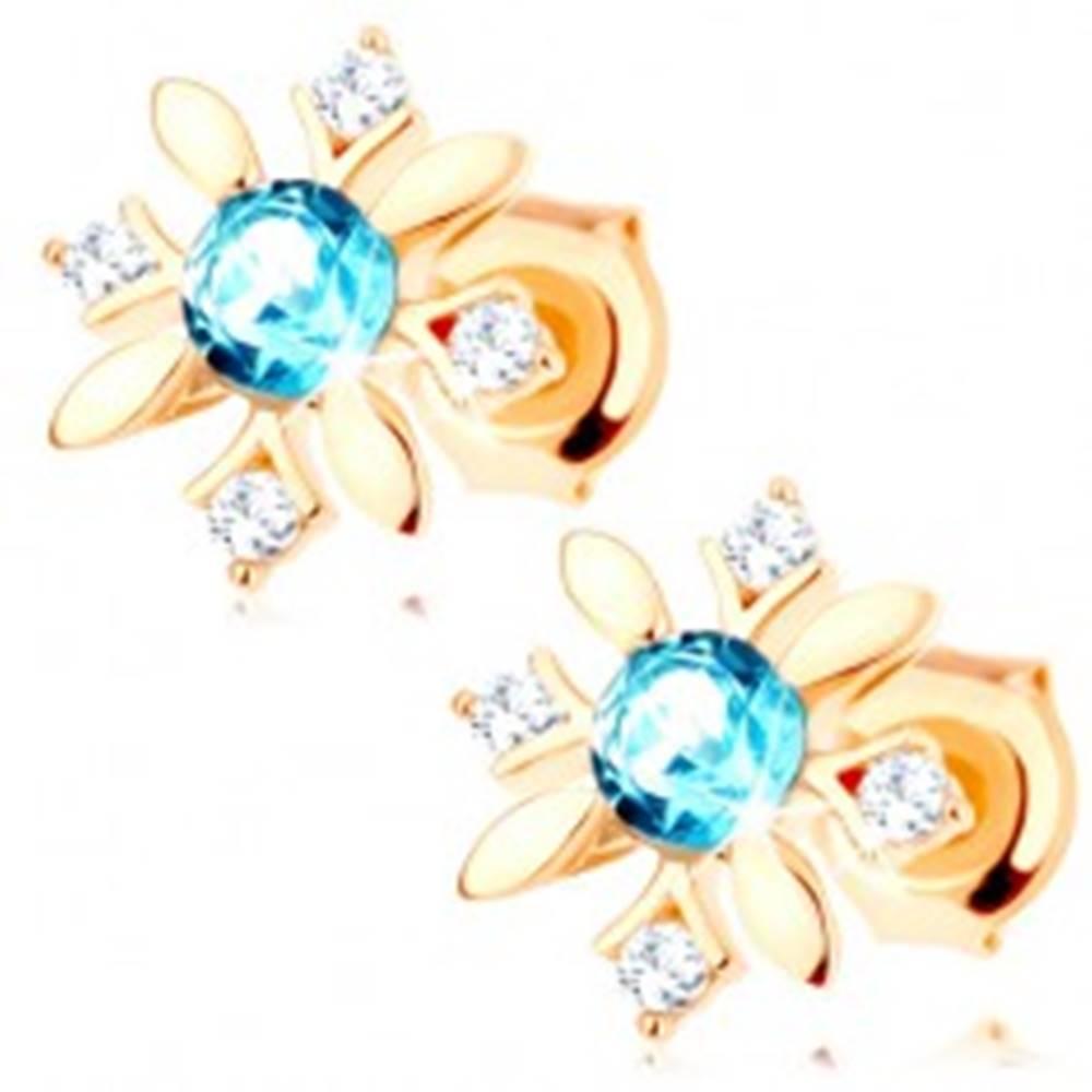 Šperky eshop Puzetové náušnice zo žltého 14K zlata - kvietok zo zirkónov a modrého topásu