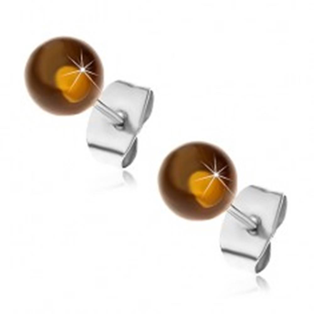 Šperky eshop Puzetové oceľové náušnice, polopriehľadné žltohnedé guličky, 6 mm