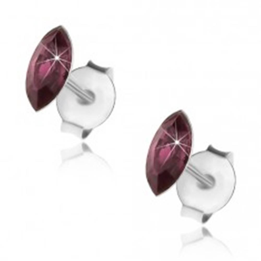 Šperky eshop Strieborné 925 náušnice, fialové zrnko, Swarovského krištáľ, puzetky