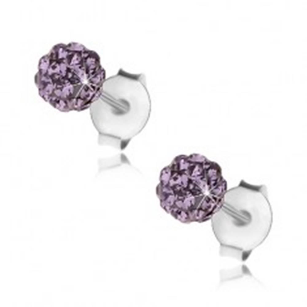 Šperky eshop Strieborné náušnice 925, fialová trblietavá gulička, Preciosa krištále, 4 mm