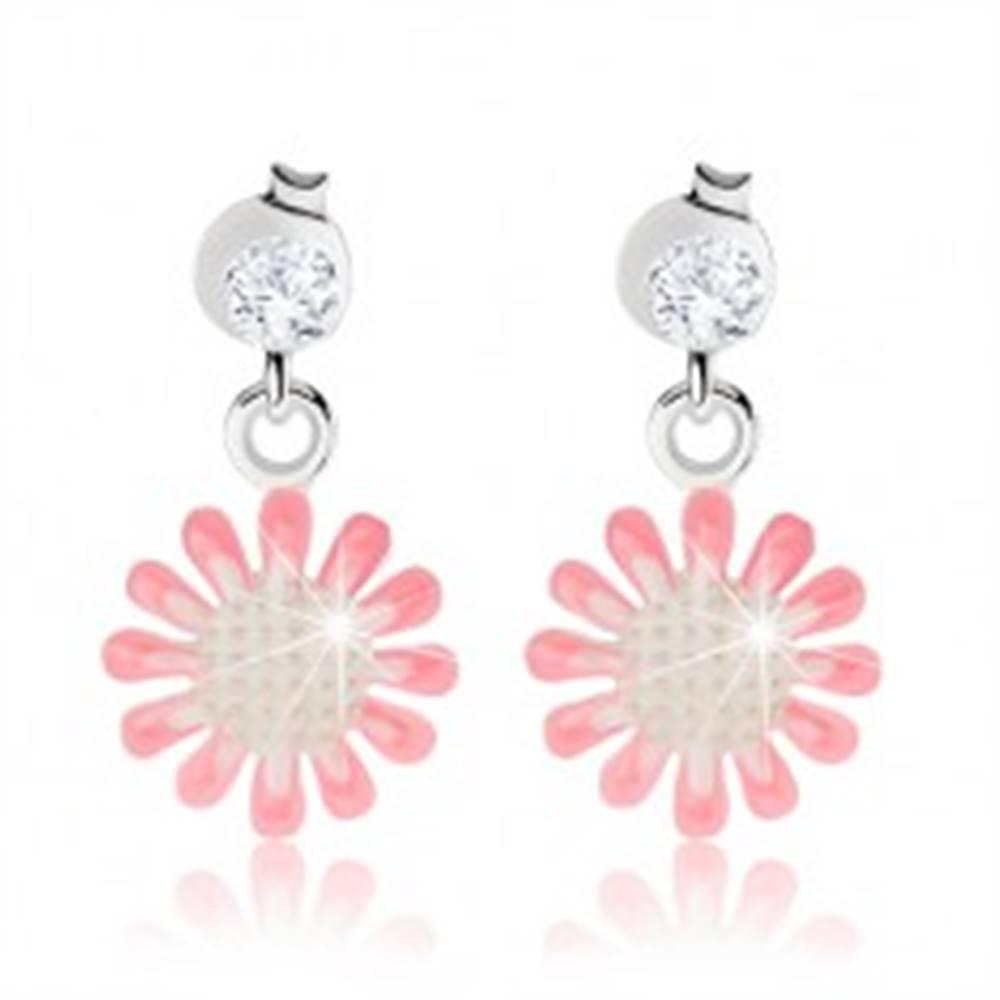 Šperky eshop Strieborné náušnice 925, kvietok s bielou a ružovou glazúrou