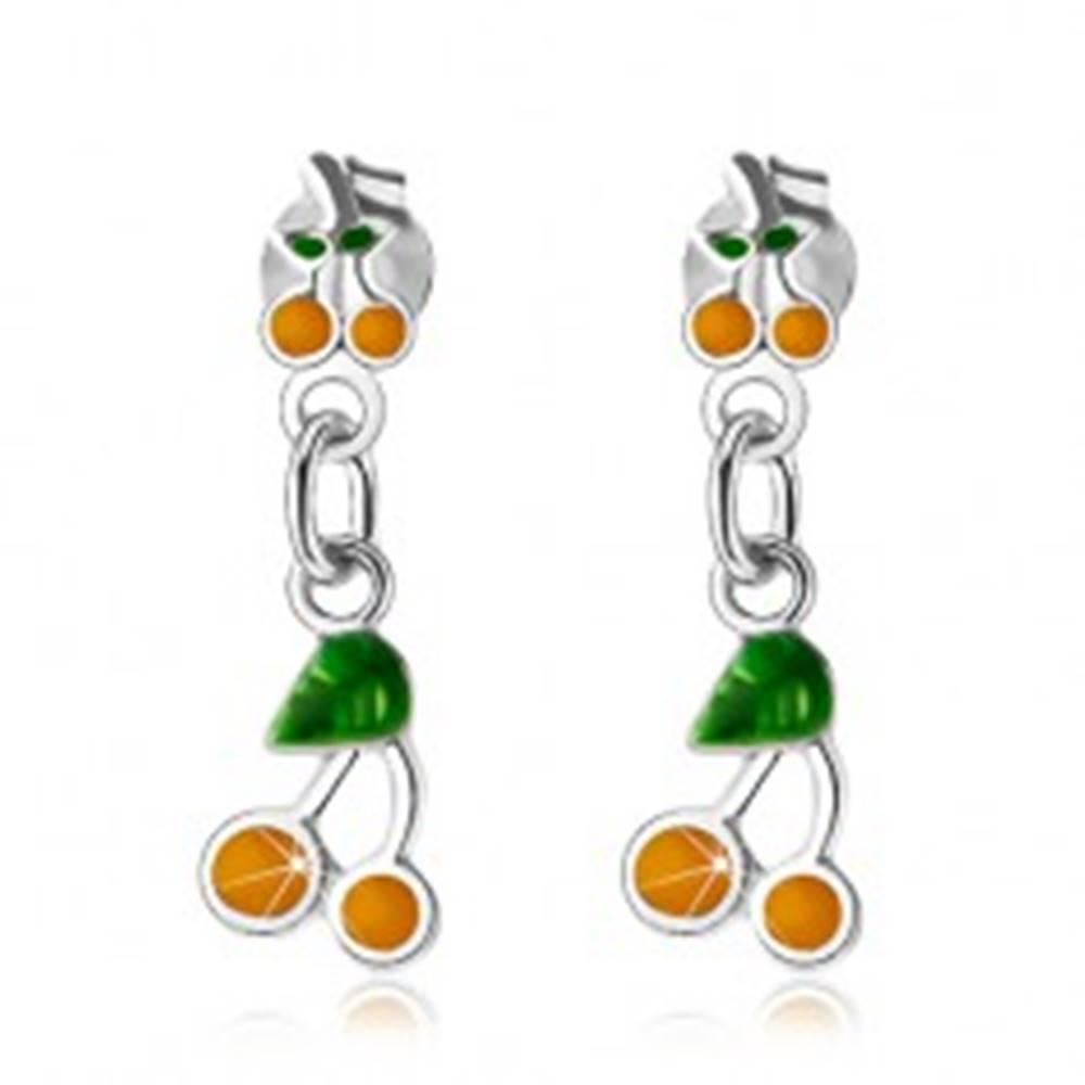 Šperky eshop Strieborné náušnice 925, malé a veľké čerešničky, žltá a zelená glazúra