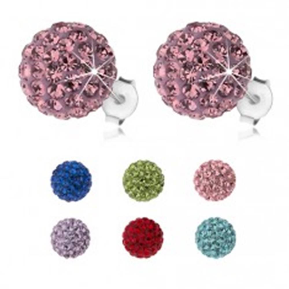 Šperky eshop Strieborné náušnice 925, trblietavé guličky s Preciosa krištáľmi, 10 mm - Farba: Červená