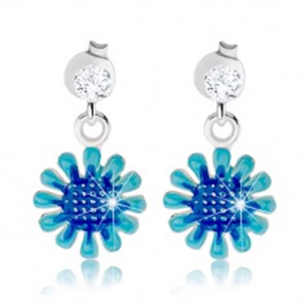 Šperky eshop Strieborné náušnice 925, visiaci kvet v odtieňoch modrej farby, číry zirkón