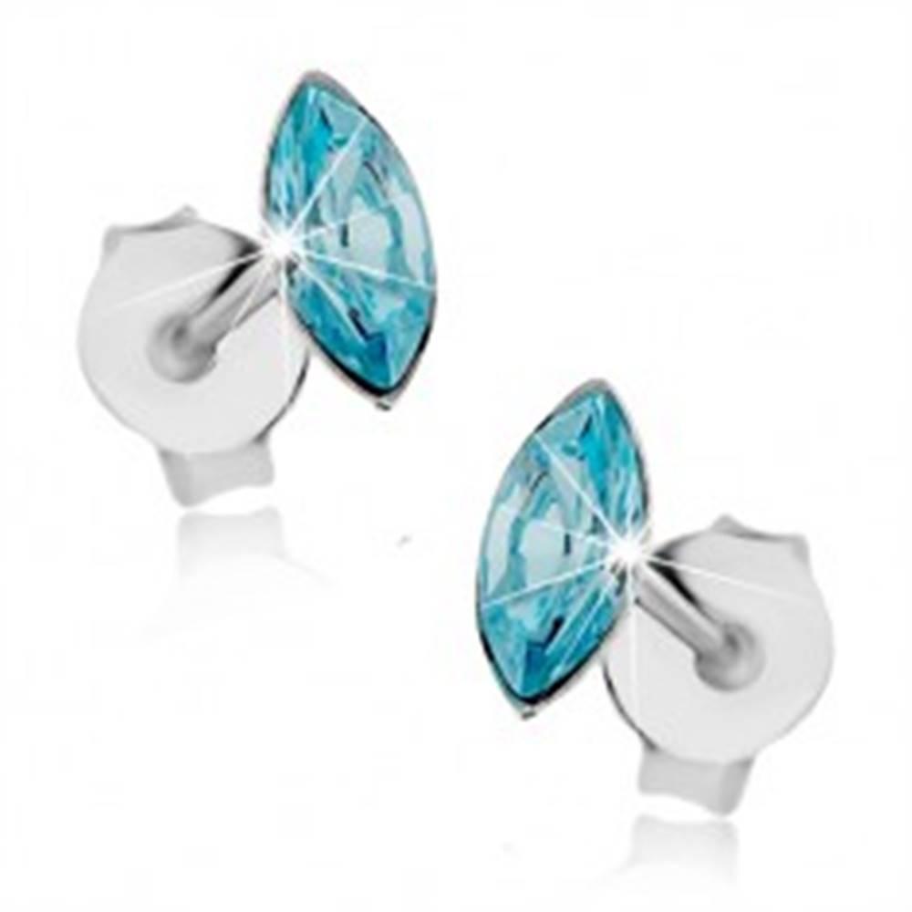 Šperky eshop Strieborné náušnice 925, zrnkový Swarovského krištálik modrej farby