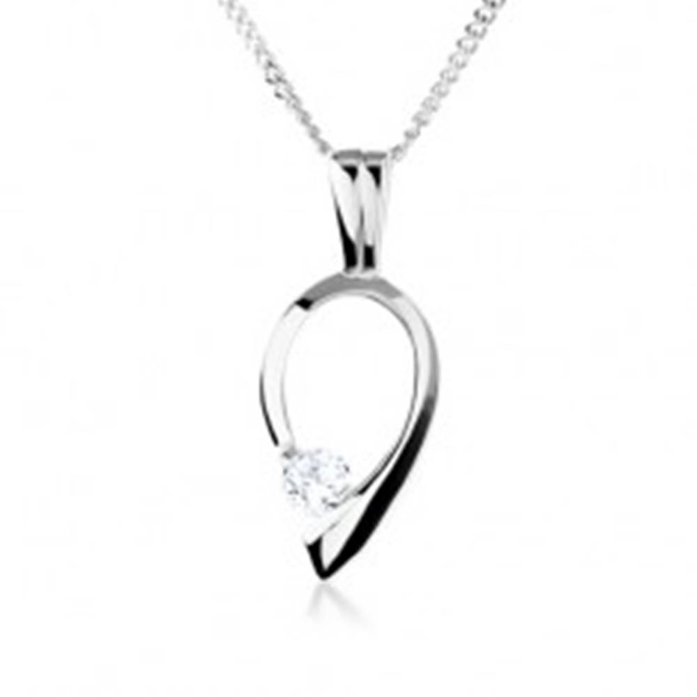 Šperky eshop Strieborný náhrdelník 925, obrys obrátenej kvapky s čírym zirkónom