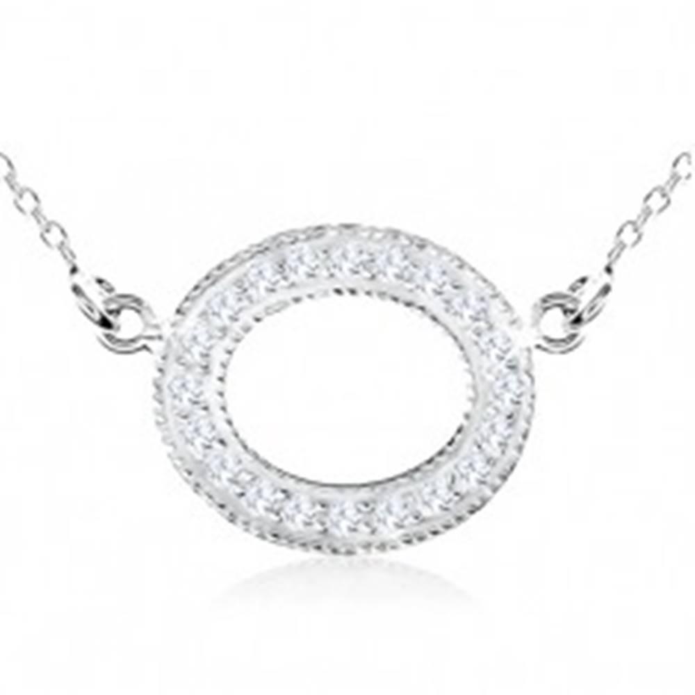 Šperky eshop Strieborný náhrdelník 925, ovál zdobený čírymi zirkónmi a guličkami
