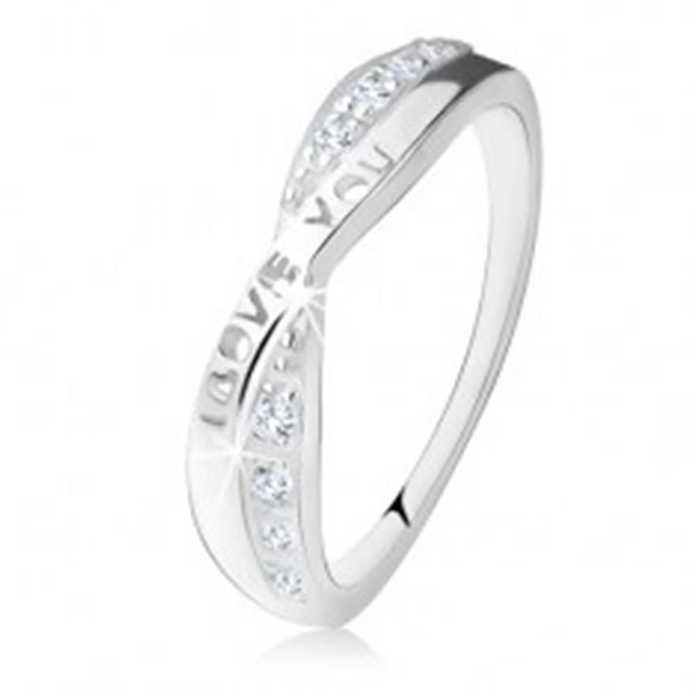 """Šperky eshop Strieborný prsteň 925, prekrížené ramená, zirkóny, nápis """"I LOVE YOU"""" - Veľkosť: 49 mm"""