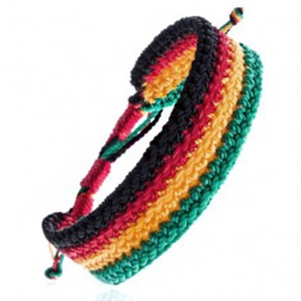 Šperky eshop Viacfarebný pletený náramok - rastafariánsky motív