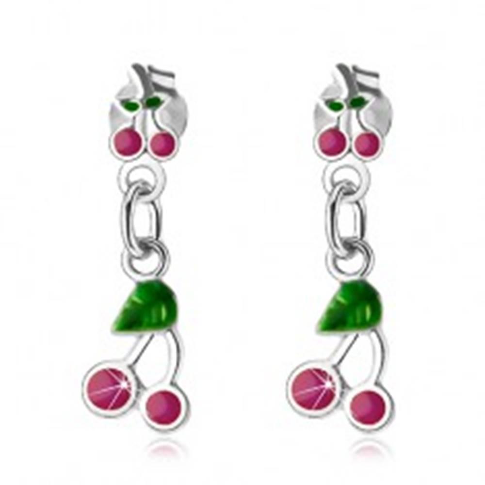 Šperky eshop Visiace náušnice, striebro 925, čerešne s ružovofialovou a zelenou glazúrou