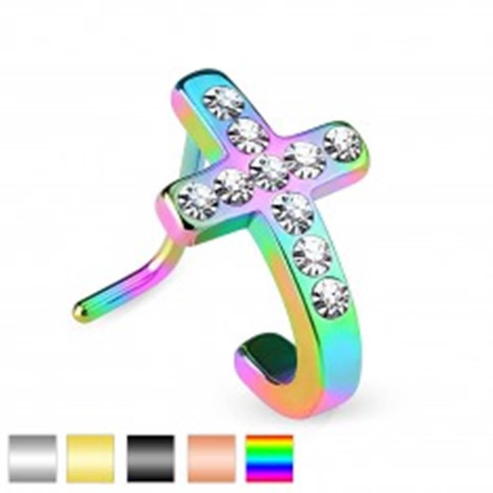Šperky eshop Zahnutý oceľový piercing do nosa, kríž so vsadenými čírymi zirkónikmi - Farba piercing: Čierna