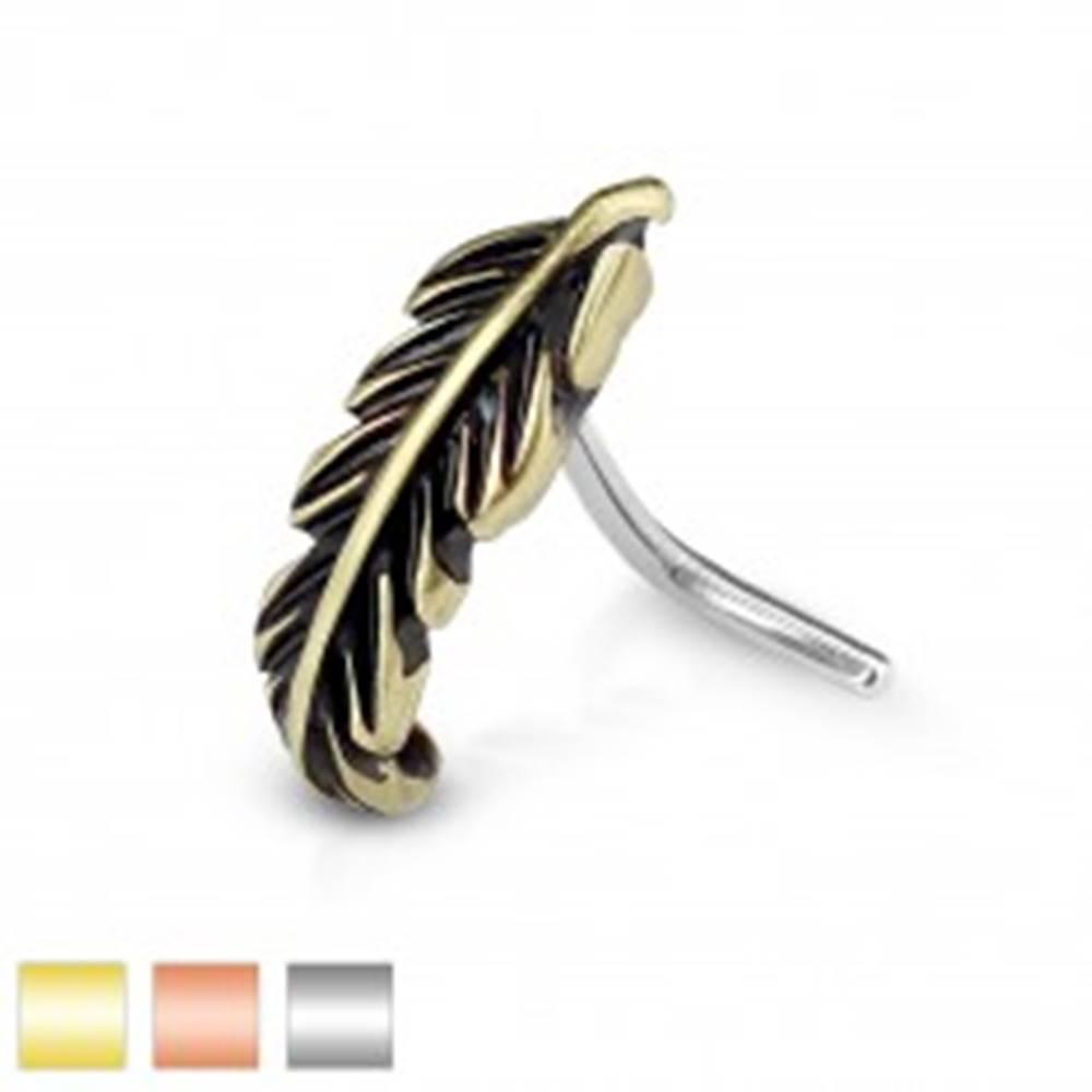 Šperky eshop Zahnutý oceľový piercing do nosa, úzke patinované pierko - Farba piercing: Medená