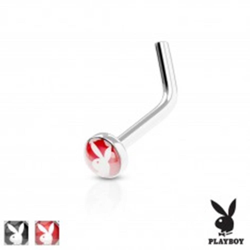 Šperky eshop Zahnutý piercing do nosa, oceľ 316L, farebné koliesko s Playboy zajačikom - Farba piercing: Červená