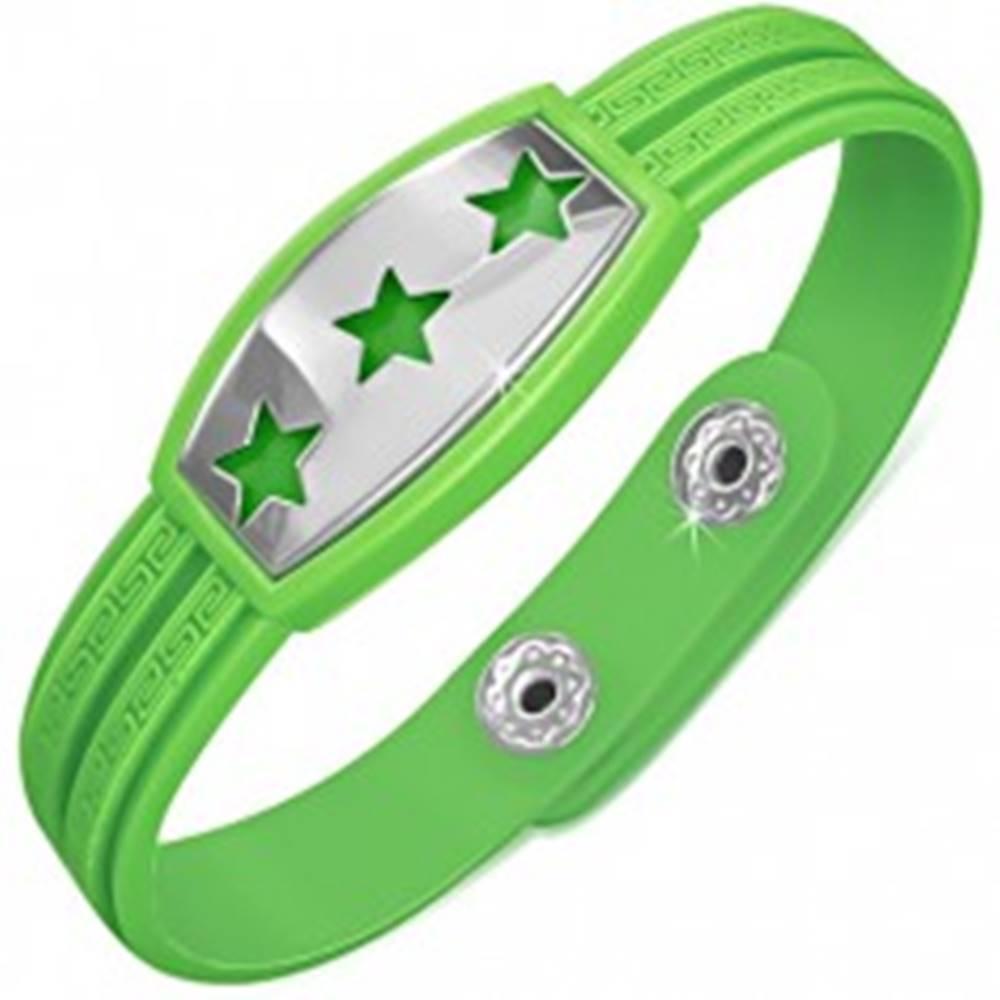 Šperky eshop Zelený gumený náramok - hviezdy na známke, grécky kľúč