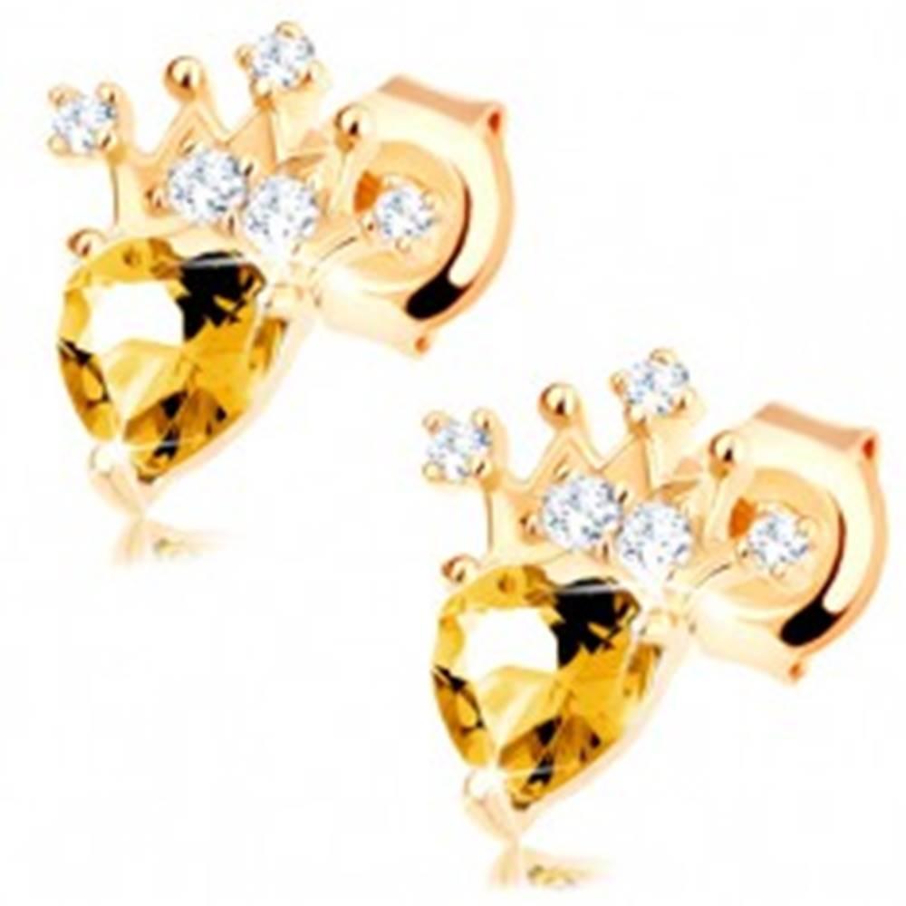 Šperky eshop Zlaté náušnice 585 - zirkónová korunka, svetložltý srdiečkový citrín