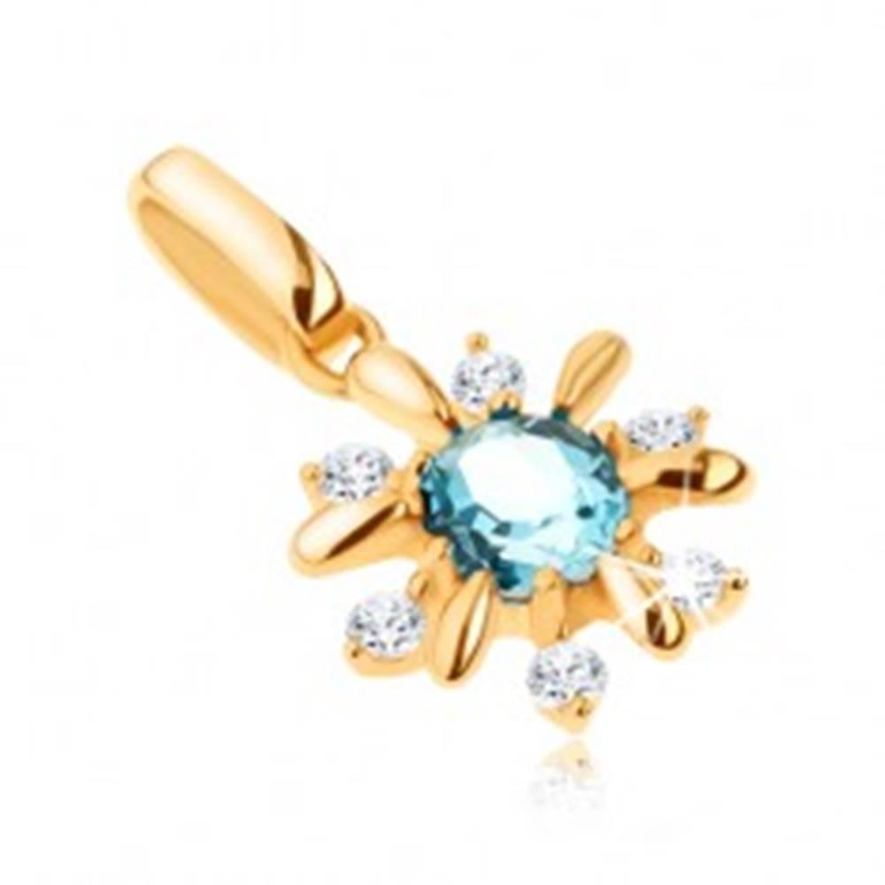 Šperky eshop Zlatý prívesok 375 - kvietok zdobený čírymi kamienkami a modrým topásom