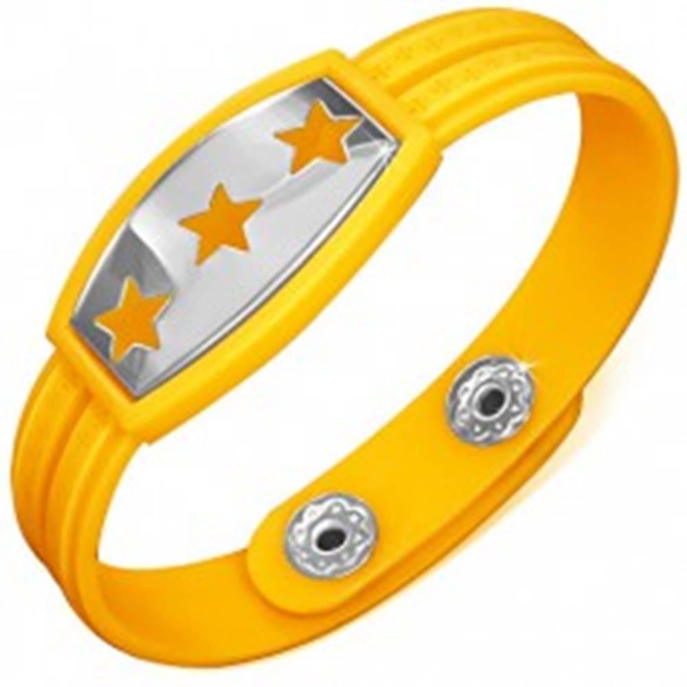 Šperky eshop Žltý gumený náramok - hviezdy na známke, grécky kľúč