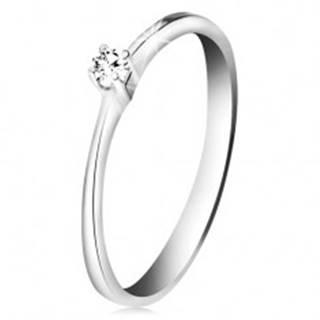 Briliantový prsteň z bieleho zlata 585 - trblietavý číry diamant v štvorcípom kotlíku - Veľkosť: 50 mm