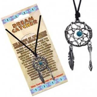 Čierny náhrdelník, kruhový lapač snov, modrá korálka v strede
