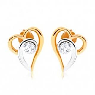 Dvojfarebné náušnice zo zlata 375, kontúra asymetrického srdca, číry zirkón