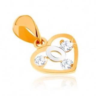 Dvojfarebný prívesok v 9K zlate - obrys srdca, slučka z bieleho zlata, zirkóny