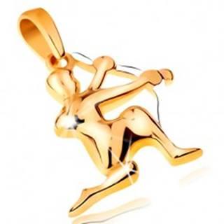 Dvojfarebný zlatý prívesok 14K - symbol znamenia zverokruhu - STRELEC