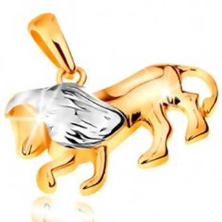 Dvojfarebný zlatý prívesok 585 - symbol znamenia zverokruhu - LEV