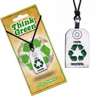 EKO náhrdelník - lesklá známka so symbolom recyklácie
