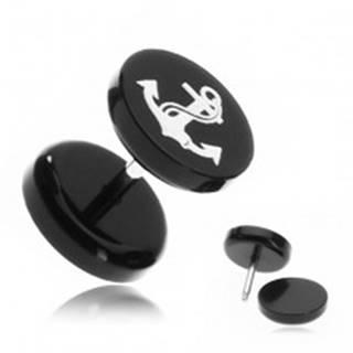 Falošný piercing do ucha z akrylu - námornícka kotva s lanom