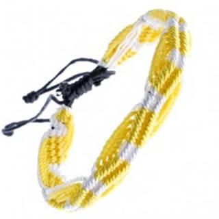 Farebný pletený náramok - žlto-biele vlnky zo šnúrok