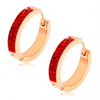Kĺbové náušnice z ocele, medená farba, rubínovo červené zirkóny