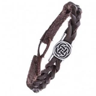 Kožený hnedý náramok - pletený, keltský uzol v kruhu
