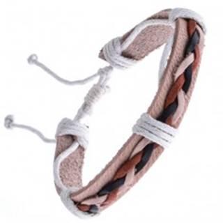 Kožený náramok béžový – tri spletené šnúrky