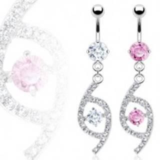 Luxusný piercing do pupka slza so zirkónmi - Farba zirkónu: Číra - C
