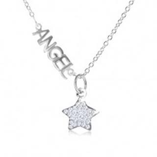 "Náhrdelník zo striebra 925, nápis ""ANGEL"", hviezda z čírych zirkónov"