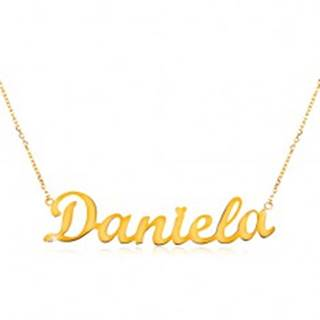 Náhrdelník zo žltého 14K zlata - tenká retiazka, lesklý prívesok - meno Daniela