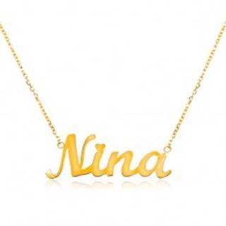 Náhrdelník zo žltého 14K zlata - tenká retiazka, lesklý prívesok - meno Nina