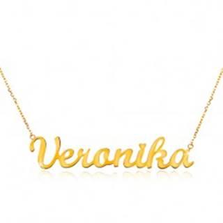 Náhrdelník zo žltého 14K zlata - tenká retiazka, lesklý prívesok Veronika