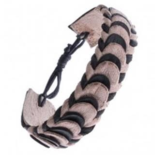 Náramok z kože - čierne a béžové skladané pásy