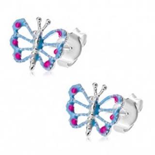 Náušnice zo striebra 925, motýlik s modrými krídlami, výrezy, ružové bodky