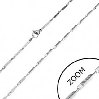 Oceľová retiazka v striebornom odtieni - úzke hranaté články s ryhami, 2 mm
