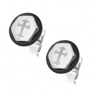 Oceľové náušnice v tvare šesťuholníka, strieborná farba, kríž, čierna gumička