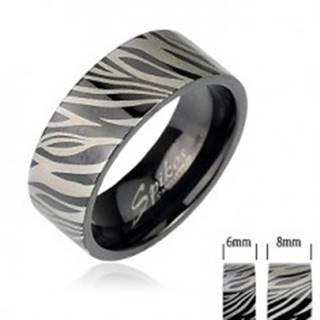 Oceľový prsteň - čierna zebra - Veľkosť: 49 mm