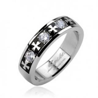 Oceľový prsteň - tri zirkóny a kríže - Veľkosť: 58 mm