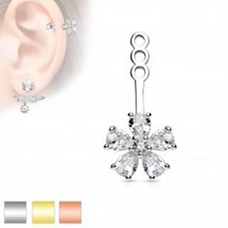 Ozdoba na puzetovú náušnicu alebo piercing, číry zirkónový kvietok - Farba: Medená