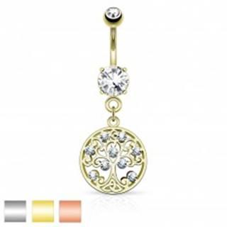 Piercing do bruška z chirurgickej ocele, strom života v kruhu, zirkóny - Farba piercing: Medená