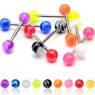 Piercing do jazyka farebná gulička - Farba piercing: Biela