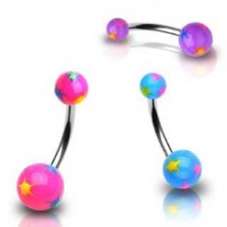 Piercing do pupku rôznofarebné hviezdičky - Farba piercing: Fialová